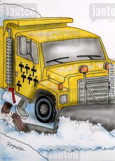 snow plough cartoon humor: Snowplough Scoring Mailboxes.