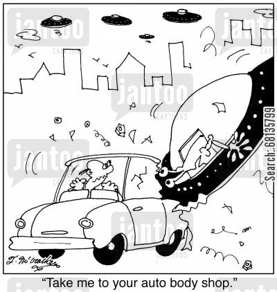 fender bender cartoon humor: 'Take me to your auto body shop.'