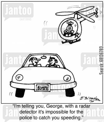 highway patrolmen cartoon humor: 'I'm telling you, George, with a radar detector it's impossible for the police to catch you speeding.'