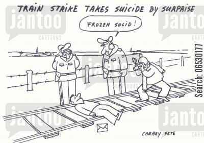 rails cartoon humor: Train strike takes suicide by surprise.