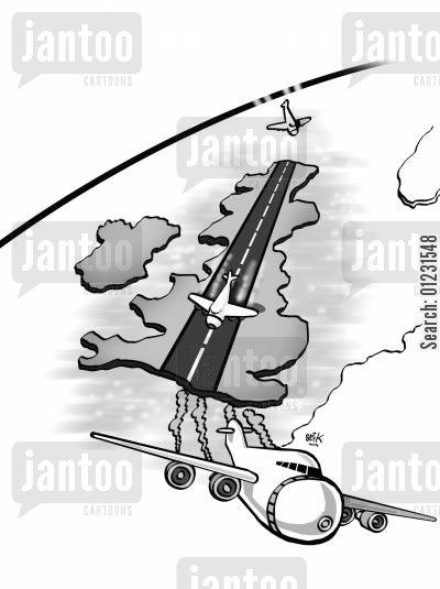 airbus a380 cartoon humor: Airport Britain.