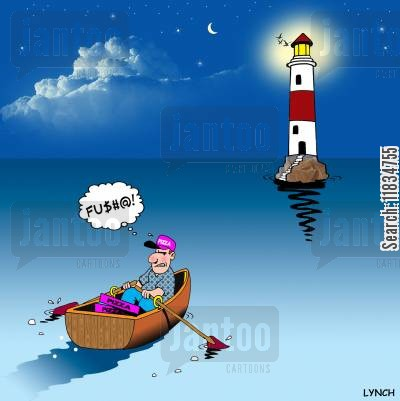 rowing boats cartoon humor: Lighthouse pizza deliveries.