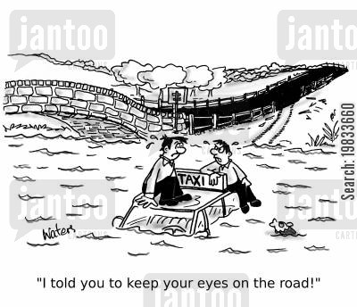 backseat driver cartoon humor: 'I told you to keep your eyes on the road!'
