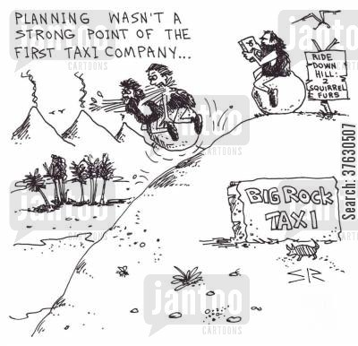 cro magnon cartoon humor: Planning Wasn't The Strong Point of the First Taxi Company...