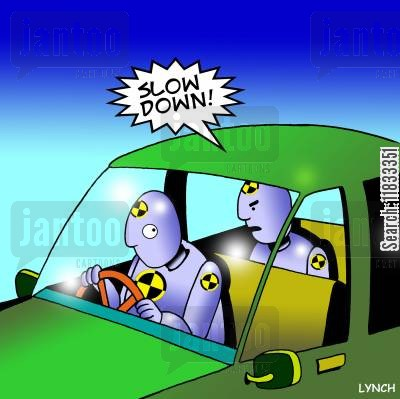 crash test cartoon humor: Slow down!