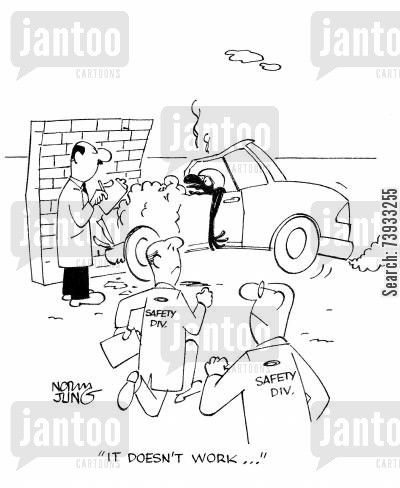 road test cartoon humor: 'It doesn't work...'