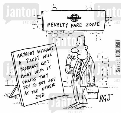 fares cartoon humor: London Underground fare dodging