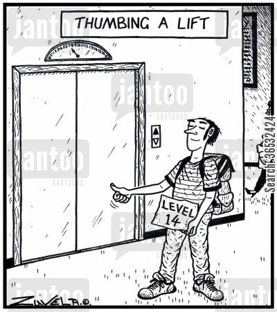level cartoon humor: Thumbing a Lift.