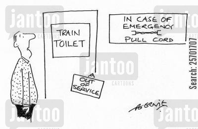 in case of emergency cartoon humor: The toilet on the train is out of order, and you can pull the cord incase of an emergency.