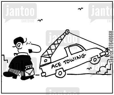 roadsides cartoon humor: 'Tow trunk lifting itself..'