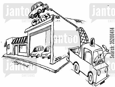 showroom cartoon humor: Towing truck pulling car from top of car show room