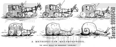 mail coach cartoon humor: A horse and cart metamorphosing into a snail.