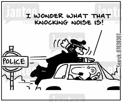 traffic violations cartoon humor: 'I wonder what that knocking noise is.'