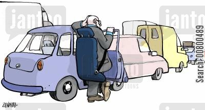 seatbelts cartoon humor: Man stood outside car in traffic jam, seat strapped to his back.