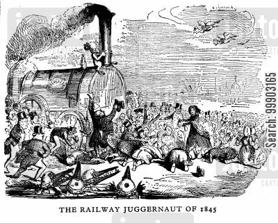 steamtrains cartoon humor: 'The Railway Juggernaut of 1845'