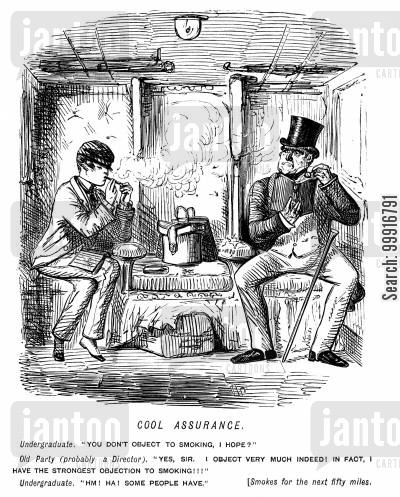 college cartoon humor: Man expresses objection to undergraduate smoking in a train carriage but he does not stop