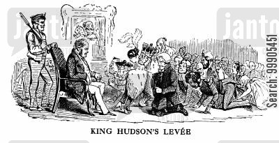 train line cartoon humor: Railway 'King' George Hudson