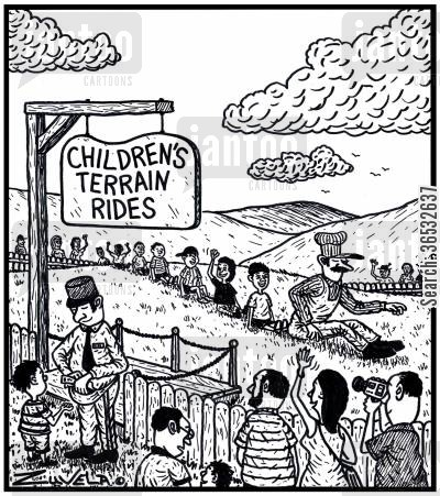 having fun cartoon humor: Children's Terrain Rides - kids seated and enjoying themselves in the way they would on a real train.