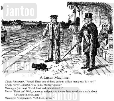 train track cartoon humor: A Victorian train station.