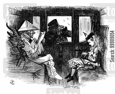 train travel cartoon humor: Alice Through the Looking Glass - 'Tickets Please!'