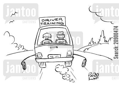 trainee driver cartoon humor: Car with training wheels.