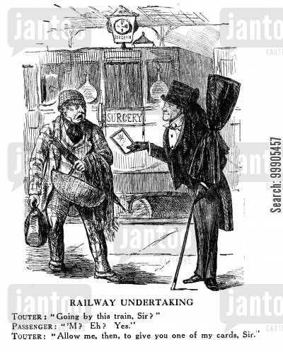 funeral cartoon humor: Undertakers Touting the Railways - The Dangers of Public Transport