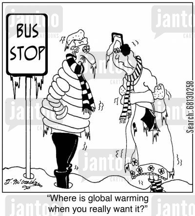 late buses cartoon humor: Where is global warming when you really want it?