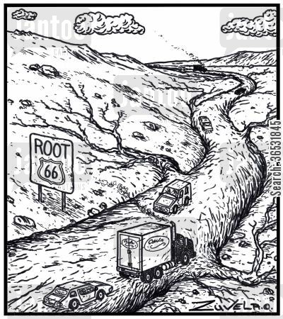 tree root cartoon humor: Root 66.