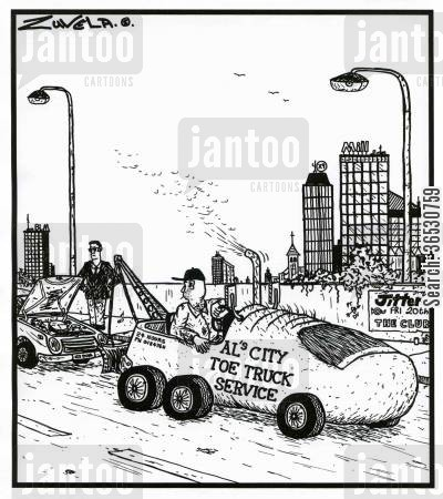 truck cartoon humor: Al's City Toe Truck Service.