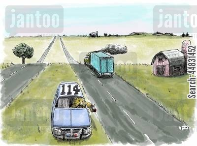 speed traps cartoon humor: 'Bear in the middle' speed trap.