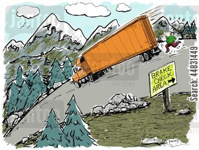 semi cartoon humor: A 'failed' brake check!