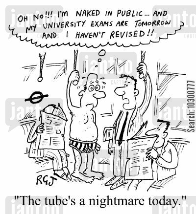 anxiety dream cartoon humor: The tube's a nightmare today
