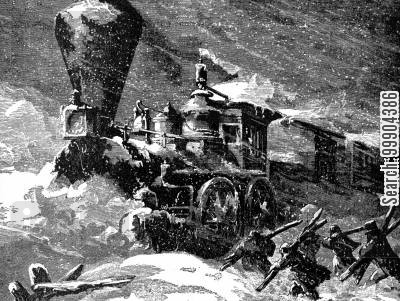 snowstorm cartoon humor: Michigan Central Train Trapped in Snowstorm