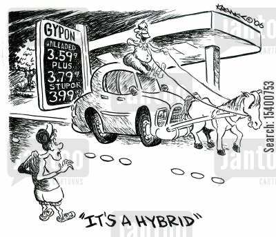 gas price cartoon humor: 'It's a hybrid.'
