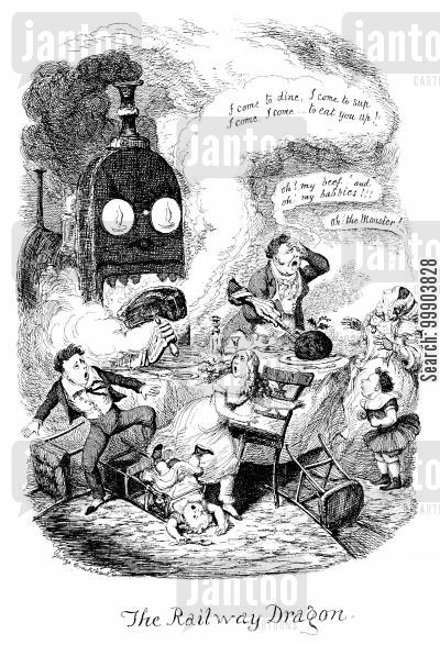 victorian england cartoon humor: The Railway Dragon