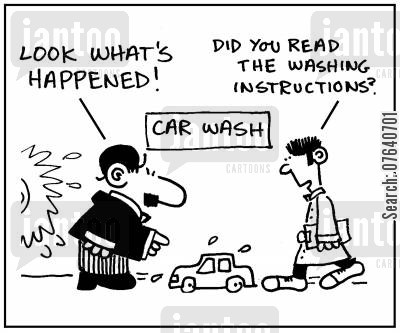 salesman cartoon humor: 'Look what's happened.' - 'Did you read the washing instructions?'
