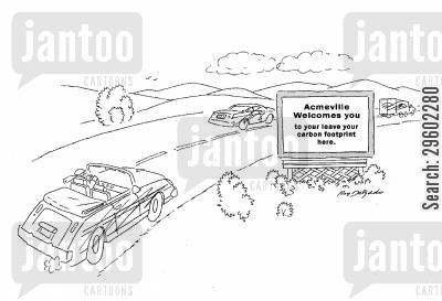 carbon footprints cartoon humor: Acmeville welcomes you to leave your carbon footprint here.