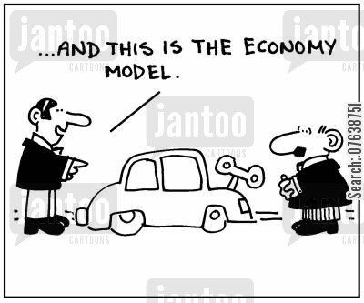 economy model cartoon humor: 'And this is the economy model.'