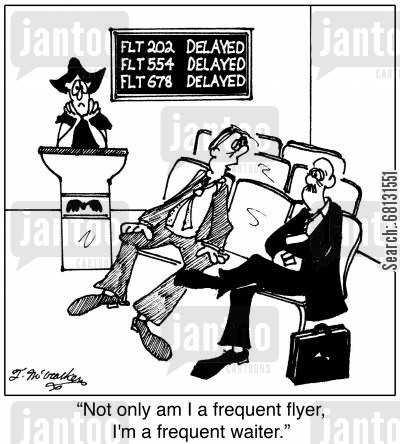 frequent flyer cartoon humor: 'Not only am I a frequent flyer, I'm a frequent waiter.'