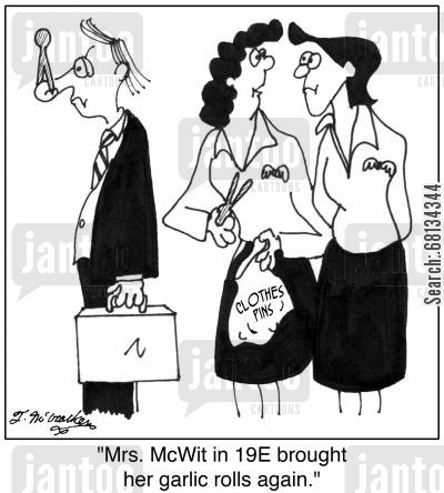 pegs cartoon humor: 'Mrs. McWit in 19E brought her garlic rolls again.'