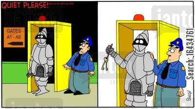 metal detectors cartoon humor: Safety First.