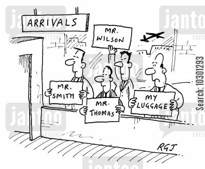 arrival lounges cartoon humor: Arrivals Lounge