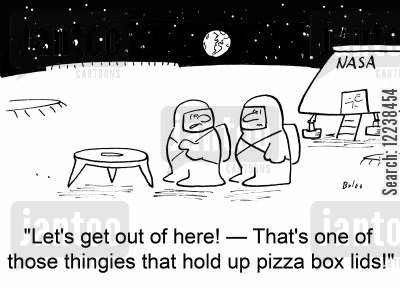pizza box cartoon humor: 'Let's get out of here! -- That's one of those thingies that hold up pizza box lids!'