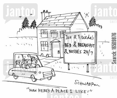 guest house cartoon humor: 'Now here's a place I like!'
