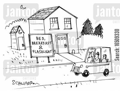 flashlight cartoon humor: Sign by house with outside toilet reads: 'Brd, breakfast and flashlight.'