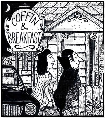 getaway cartoon humor: Coffin & Breakfast.