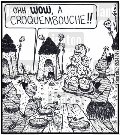 missionaries cartoon humor: Young Cannibal Boy: 'Ohh WOW, a Croquembouche!!' An excited young Cannibal Boy about to receive a Croquembouche cake made of Explorers' and Missionaries' heads for his Birthday