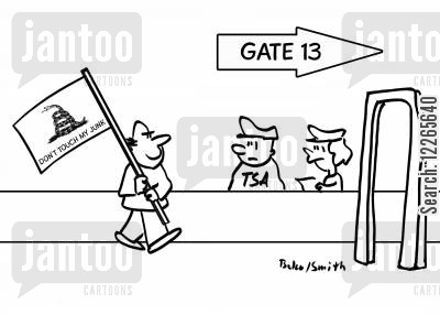 airport security cartoon humor: GATE 13, DON'T TOUCH MY JUNK!