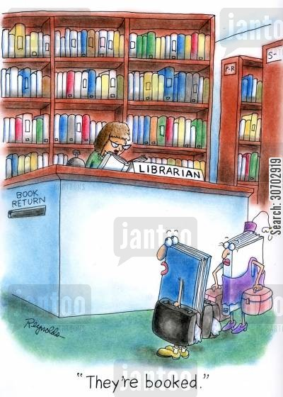 book club cartoon humor: 'They're booked.'