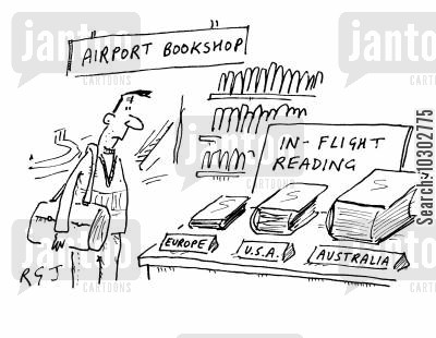 duty free cartoon humor: In-flight reading book varying in size depending on journey length.